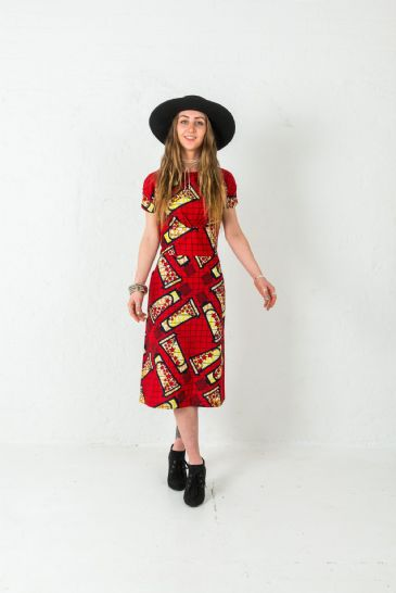 Tube-patterned Red Dress